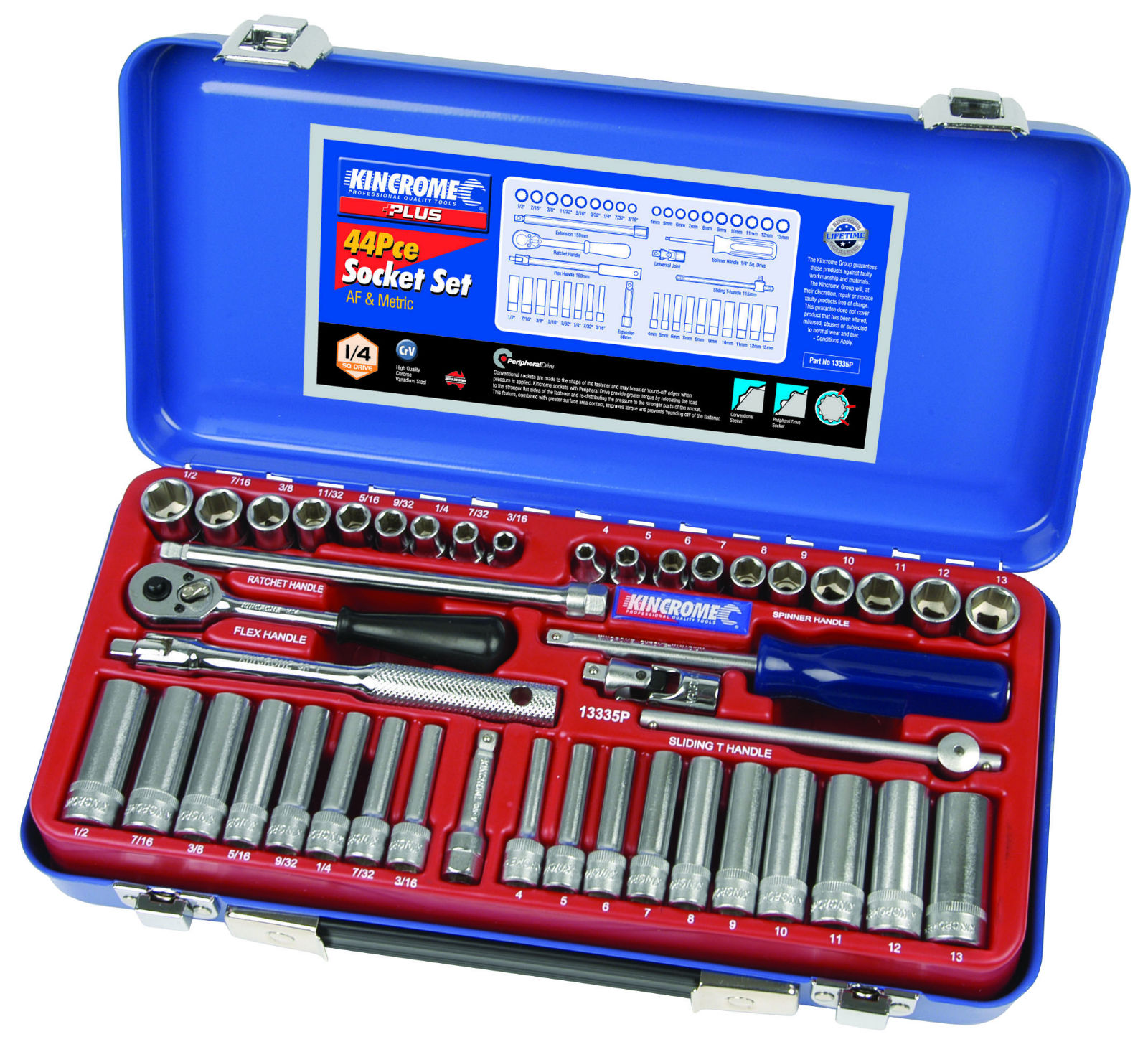 PLUS SOCKET SET 44PC 1/4 AF/M