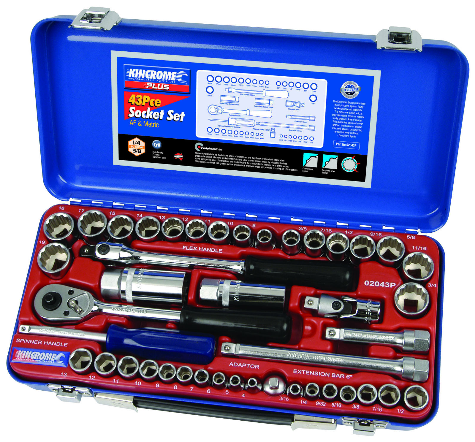 PLUS SOCKET SET 43PC 1/4 3/8