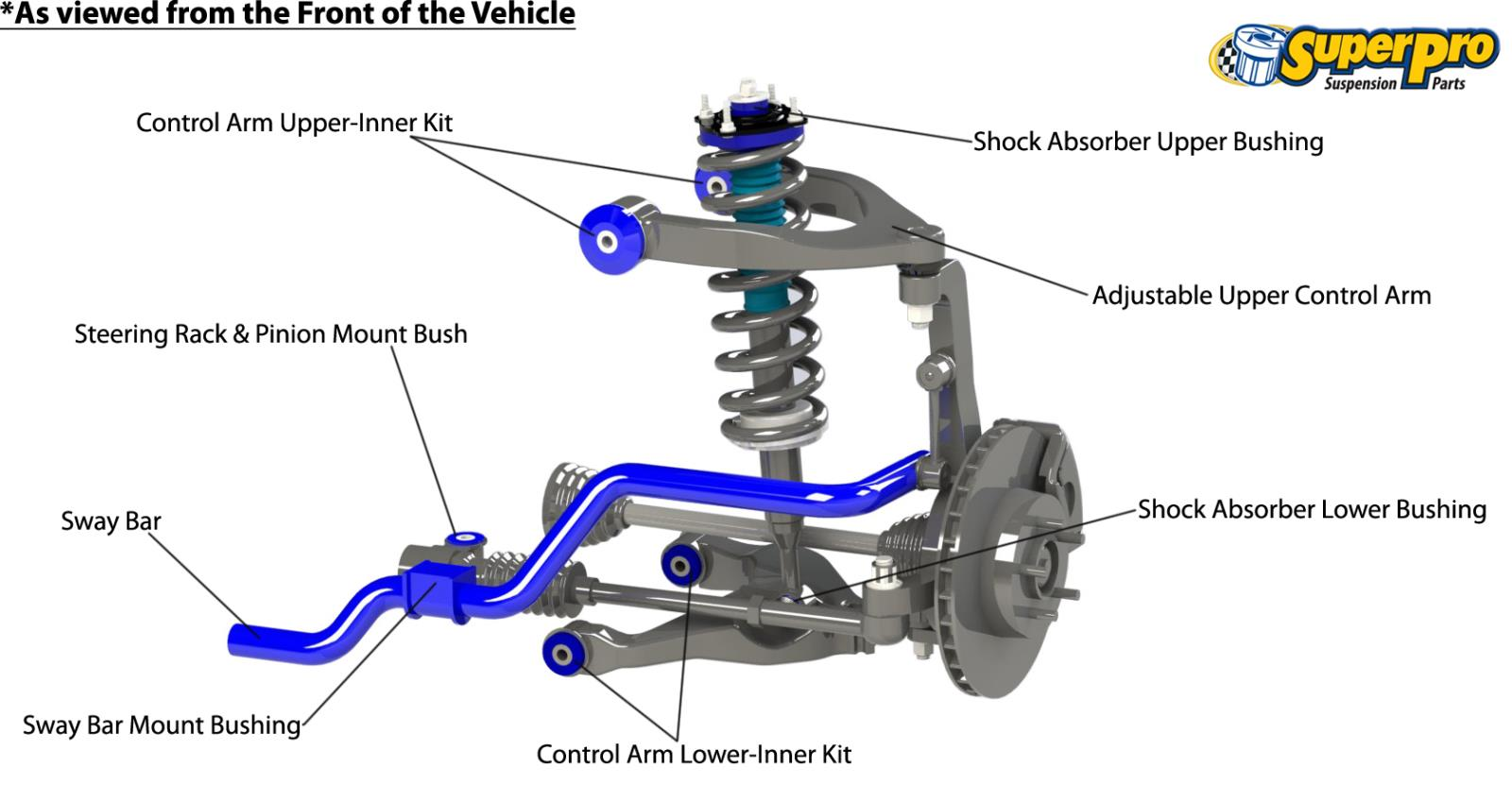 Front suspension diagram for TOYOTA HILUX 2015-on - GGN, GUN 4WD